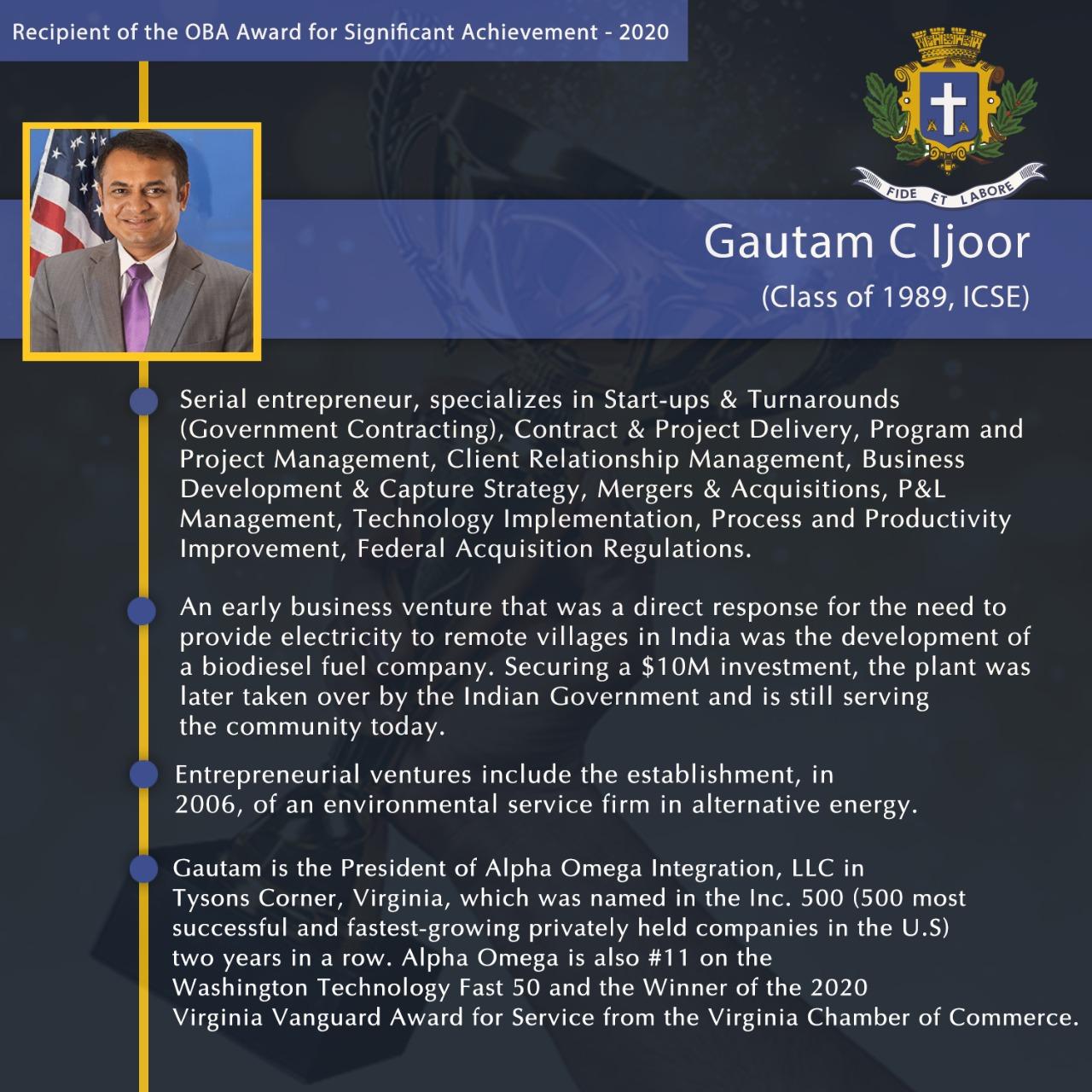 Gautam Ijoor – Significant Achievement – 2020